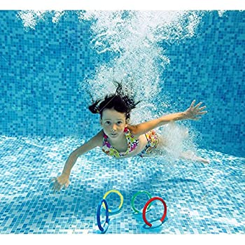 Wotow Dive Rings, 4 Piece Plastic Diving Rings Underwater Swimming Toy Rings Dive Training Gift For Boy Girl Students Recreation Play Summer Pool Toy Assorted Colors Dive Rings Kids Pool Water Game (4 Pcs) 4