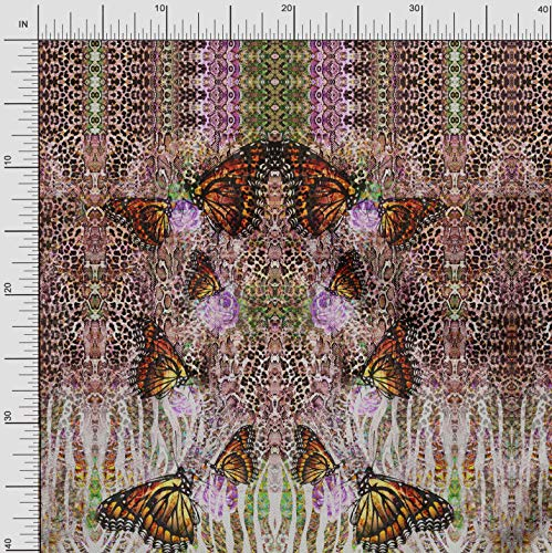 Soimoi Rosa Baumwolljersey Stoff Schmetterlinge & Leopard Platte Stoff Meterware 58 Zoll breit