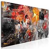 decomonkey Bilder Abstrakt 150x50 cm 1 Teilig Leinwandbilder Bild auf Leinwand Vlies Wandbild Kunstdruck Wanddeko Wand Wohnzimmer Wanddekoration Deko Modern Kunst schwarz rot orange