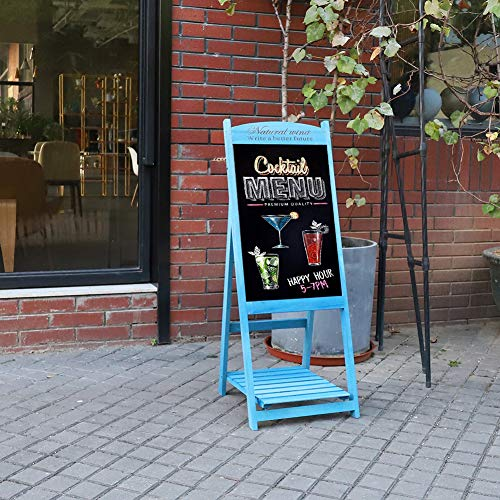 UNHO Wooden Chalkboard Easel Display Stand Wood Ladder Shelf A Frame Sign Board Freestanding Sandwich Board with Slatted Tray for Cafe Bar Book Store Restaurant
