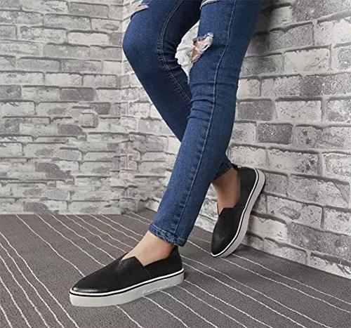 Aiutare a basso scarpe casual conca pianeggiante sceglie i pattini aguzzi donna imposta scarpe ascensore scarpe piede di usura primavera Ms. Black