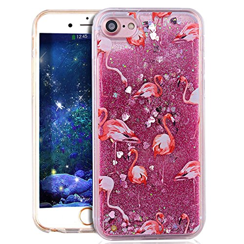 Glitzer Hülle Für iPhone 7,Transparent Hülle Für iPhone 7 Clear Glitzer Liquid Crystal Hard Case,EMAXELERS iPhone 7 Hülle Blumen,iPhone 7 Hülle Flamingo,iPhone 7 Hülle Bling Glitzer Cristal 3D Kreativ Flamingo 1