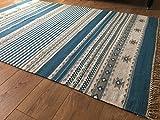 Kovalam Geometrische Streifen Wolle Kelim Teppich blau grau weiß (Fair Trade) 150cm x 240cm