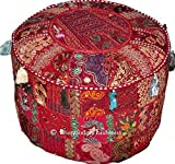 Indian Round Patch Work Embroidered Ottoman Pouf, Indian Round Ottoman Stool Pouf Pillow Patterned Cocktail Vintage Hassock Pouffe, Cotton Handmade Ottoman Pouf, 18x13 Inch. By Bhagyoday by BhagyodayFashions