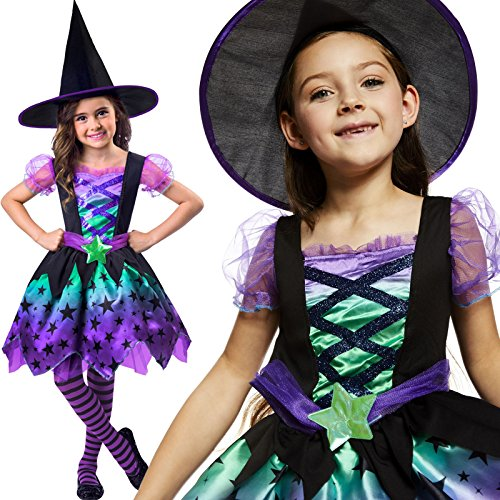 loween Kostüm Kinder Mädchen Amscan (Kinder Hexe Kostüm)