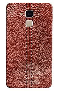 Omnam Threaded Pattern On Red Leather Printed Designer Back Cover Case For Huawei Honor 5C