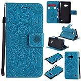 Lumia 550 Hülle, Microsoft Lumia 550 Hülle,Nokia Lumia 550 Hülle,Nokia Lumia 550 Leder Wallet Tasche Brieftasche Schutzhülle,Cozy Hut® Prägung Sunflower Muster PU Lederhülle Flip Hülle im Bookstyle Cover Schale Stand Ständer Etui Karten Slot Schutzhülle Blue Tasche Wallet Case für Microsoft Lumia 550/ N550 4,7 Zoll - blau