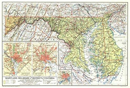 Reproduktion eines Poster Präsentation-USA-Maryland, Delaware (1927)-61x 81,3cm Poster Prints Online kaufen