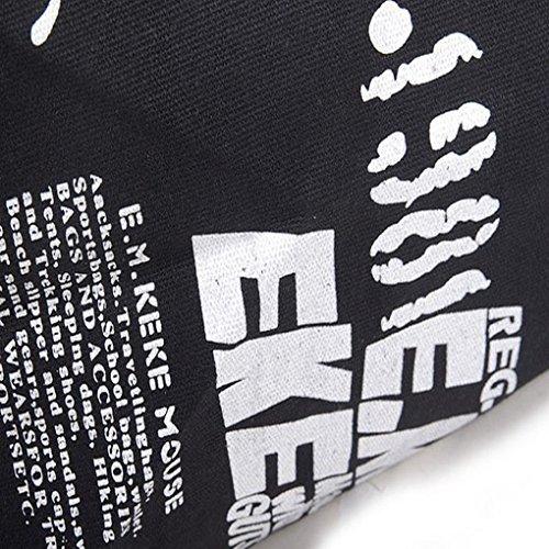 FakeFace Neue Art Modische Damen Canvas Tasche Schultertasche Umhängetasche Henkeltasche Damentasche Segeltuch Leinen Bag (Schwarz) Schwarz