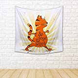 ArtzFolio Red Cat Doing Warrior Position of Yoga. Canvas Tapestry Wall Hanging 18 x 18inch