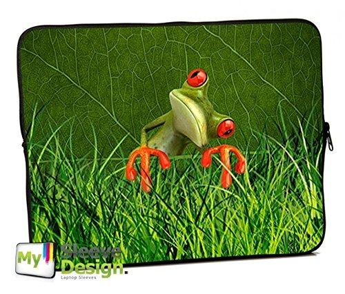 MySleeveDesign Laptoptasche Notebooktasche Sleeve für 10,2 Zoll / 11,6-12,1 Zoll / 13,3 Zoll / 14 Zoll / 15,6 Zoll / 17,3 Zoll - Neopren Schutzhülle mit VERSCH. DESIGNS - Orange Frog [17]