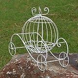 LRW Ornamentos europeos de los apoyos de la boda de la flor del carro de la calabaza del hierro de jardín pequeño