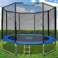 Monzana Trampolín de 305 cm cama elástica negro y azul con red de seguridad y escalera juego deporte exterior jardín