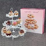 LQZ 23er Kuchenständer Tortenständer Muffinständer 3 etagen Cupcake Muffin Ständer Weiß - 4