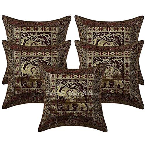 Stylo Culture Algodón de Color marrón Oscuro Brocade Self Design 16x16 Cubierta de cojín étnica Elefante Decorativo Cuadrado Conjunto de 5