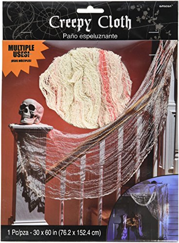 Amscan 220287 Gruseliges blutiges Tuch für Halloween, Trick or Treat, Party-Dekoration oder Kostüm, Stoff, 152,4 x 76,2 cm, weiß/rot