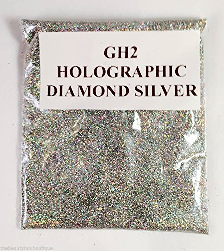 (GH2 - Holographic Diamond Silver 10g) Cosmetic Glitter Glitter Eyes Glitter Tattoo Glitter Lips Face And Body Bath Bombs Soap