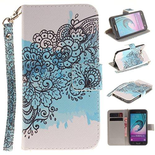 Galaxy J3 2016 Hülle, Z-Newell Magnetisch Dünn PU Leder Folio Flip Klapphülle Etui Schutzhülle Tasche Case Cover für Samsung Galaxy J3 (2016) SM-J320F, Stylus enthalten (Design 08)