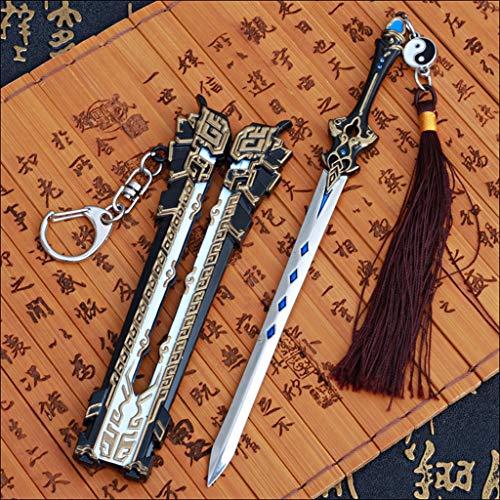LTKJ Keine Klinge Klassische Schwert Metall Waffe Säbel Modell Schlüsselanhänger Actionfigur Geschenk Spielzeug (16cm)