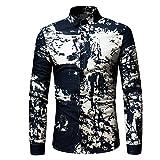 ITISME TOPS Mode-Persönlichkeit Männer Casual Schlank Langarm-Printed Shirt Top Bluse