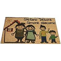 Zerbino Personalizzato da interno - Fumetto Famiglia e Tuoi Nomi - in cocco naturale cm. 100x50x2 LOVEDOORMAT Marchio…