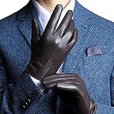 Harrms Herren Winter Lederhandschuhe aus Echtem Leder Touch Screen Gefüttert aus Kaschmir,Braun S (mit Geschenk Verpackung)
