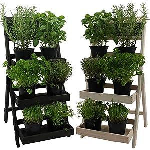 Escalera para flores de madera FSC® 74 x 39 x 40 cm con pizarra – Madera impregnada resistente a la intemperie y durable…