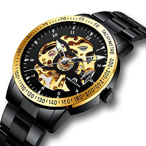 Herren Uhren Männer Mechanische Automatik Wasserdicht Sport Schwarz Edelstahl Armbanduhr Luxus Modisch Automatikuhr Leuchtende Designer Gold Skelett Analog Herrenuhr