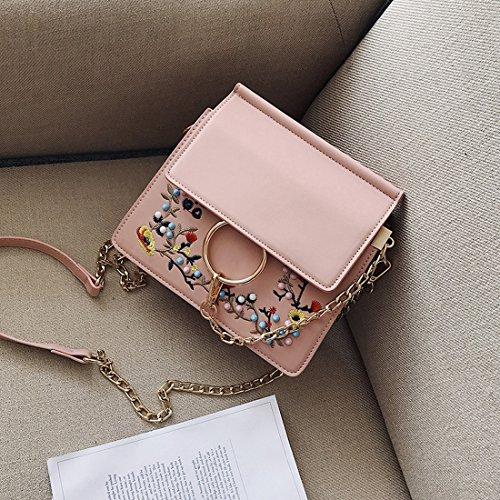 Blumen Stickerei Bedeckt Kette Double Double Umschläge Mode Schulter Messenger Bag Rosa