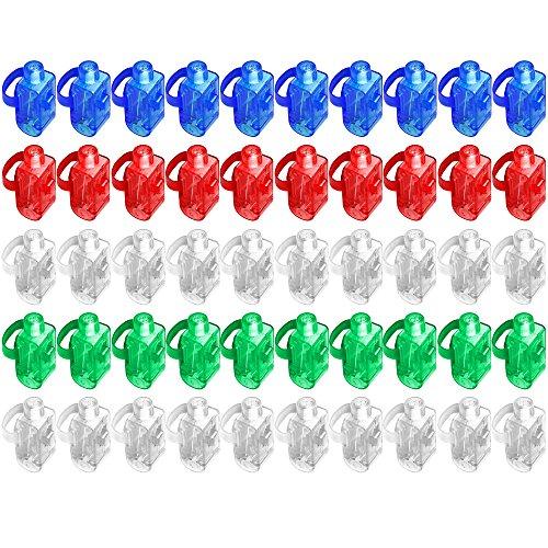 Preisvergleich Produktbild 50 Stück LED Finger Licht, DLAND Super Bright LED Finger Licht Finger Taschenlampen Lampen Leuchten Spielzeug Party gefallen-Nachschub (gemischte Farbe)