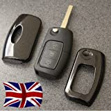Black Key Cover for Ford Remote Flip Key Fob Case Protector 2 3 Button nfrd Fiesta Focus Mondeo C-Max S-Max Galaxy Kuga Zetec S TDCI Titanium X Style Plus Ghia Studio Climate Edge LX ST RS Powershift (Diamond Black)