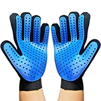 Canwn [1 Pair for Left and Right Hand Pet Grooming Glove, Grooming Massage Glove Brush Gentle Deshedding Brush Glove Hair Remover Brush Glove with Enhanced Five Finger Design