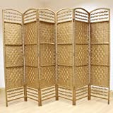 Hartleys Natural 6 Panel Hand Made Wicker Room Divider