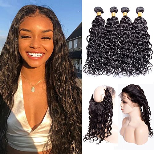 Maxine 360 Lace Frontal with 3 Bundles Pre Plucked 9A Malaysian Water Wave Virgin Human Hair Bundles 360 Lace Frontal Closure with Baby Hair (20 22 24+18 360Frontal, Natural Color) Iii Bundle