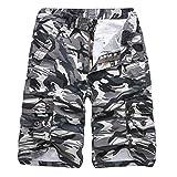 ZIYOU Herren Camouflage Cargohose Casual Outdoor Arbeitshose Shorts Männer Strand Sweatpants Freizeithose (Grau,29)