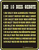 Original RAHMENLOS Blechschild für den Bierfreund: 10 Bier Gebote: 1. Du sollst kein Alkoholfrei trinken …