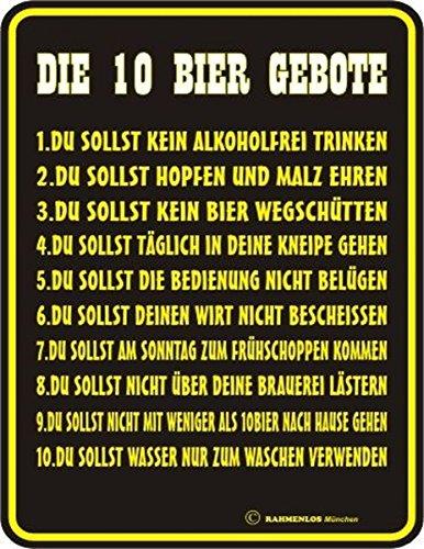 RAHMENLOS Original Blechschild für den Bierfreund: 10 Bier Gebote: 1. Du sollst kein Alkoholfrei Trinken …