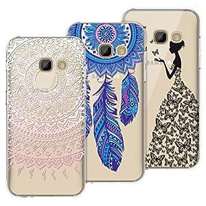 Yokata Kompatibel mit Samsung Galaxy A5 2017 Hülle Silikon Transparent Durchsichtig Handyhülle Schutzhülle TPU Dünn Slim Kratzfest mit Motiv Muster [3 Pack] – Mandala + Feder + Mädchen Schmetterling
