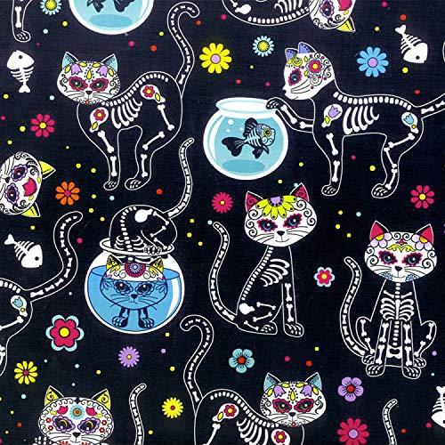 Tissu Tête de Mort Jour des Morts - Par 0,5 Mètres 50 cm x 110 cm - 100% Coton TT173 CATS