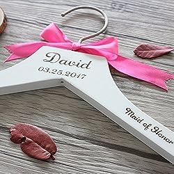 Percha Personalizable Boda - Color blanco y Lazo rosa