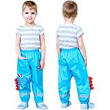 Coralup Niños Niños Lluvia Impermeable Pantalones Pequeñas Niñas Barro Sucio Prueba Pantalones Niños Con Capucha Poncho Imper