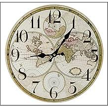 Mapa del Mundo 34cm diámetro–Reloj de pared