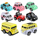 8PCS Car Toy Alloy Pull Back Cars Vehicles Set Mini Car Model Construction and Raced Trucks for Toddlers Gift