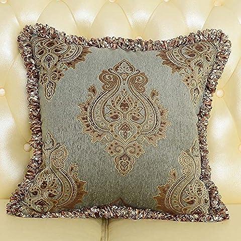 MeMoreCool Palazzo europea divano cuscino Cover, Exquisite Jacquard Throw Pillow Cover con frange/Edge Tortiglione Decor, elegante federa, Cotone, green1, 24 inch by 24 inch