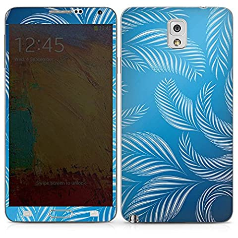 Samsung Galaxy Note 3 Case Skin Sticker aus Vinyl-Folie Aufkleber Palmen Blätter Blau