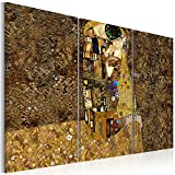 murando - Bilder 120x80 cm Vlies Leinwandbild 3 Teilig Kunstdruck modern Wandbilder XXL Wanddekoration Design Wand Bild - Gustav Klimt Kuss Abstrakt l-A-0003-b-f