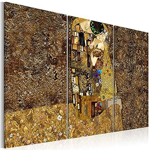 murando – Impression sur toile – 120x80 cm – 3 pieces - Image sur toile – Images – Photo – Tableau - motif moderne - Décoration - tendu sur chassis – Gustav Klimt baiser abstraction abstrait l-A-0003-b-f