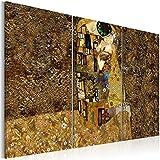 murando® Cuadro en Lienzo 120x80 cm - Tres colores a elegir - 3 partes - Impresion en calidad fotografica - Cuadro en lienzo tejido-no tejido - Gustav Klimt Beso abstraccion l-A-0003-b-f 120x80 cm