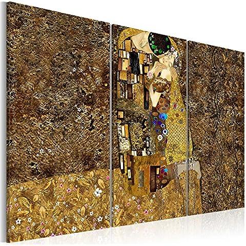 Cuadro en Lienzo 120x80 cm - Tres colores a elegir - 3 partes - Impresion en calidad fotografica - Cuadro en lienzo tejido-no tejido - Gustav Klimt Beso Abstracci�n l-A-0003-b-f 120x80 cm B&D