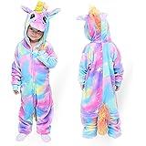 MMTX Unicornio Onesies Pijamas Unisexo Niños, Franela Animales Cosplay Disfraz Halloween Navidad Ropa de Dormir para 2-12 año